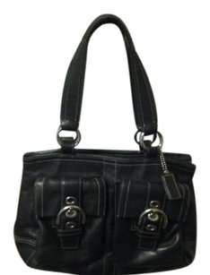 Coach Leather Silver Hardware Satchel in Black