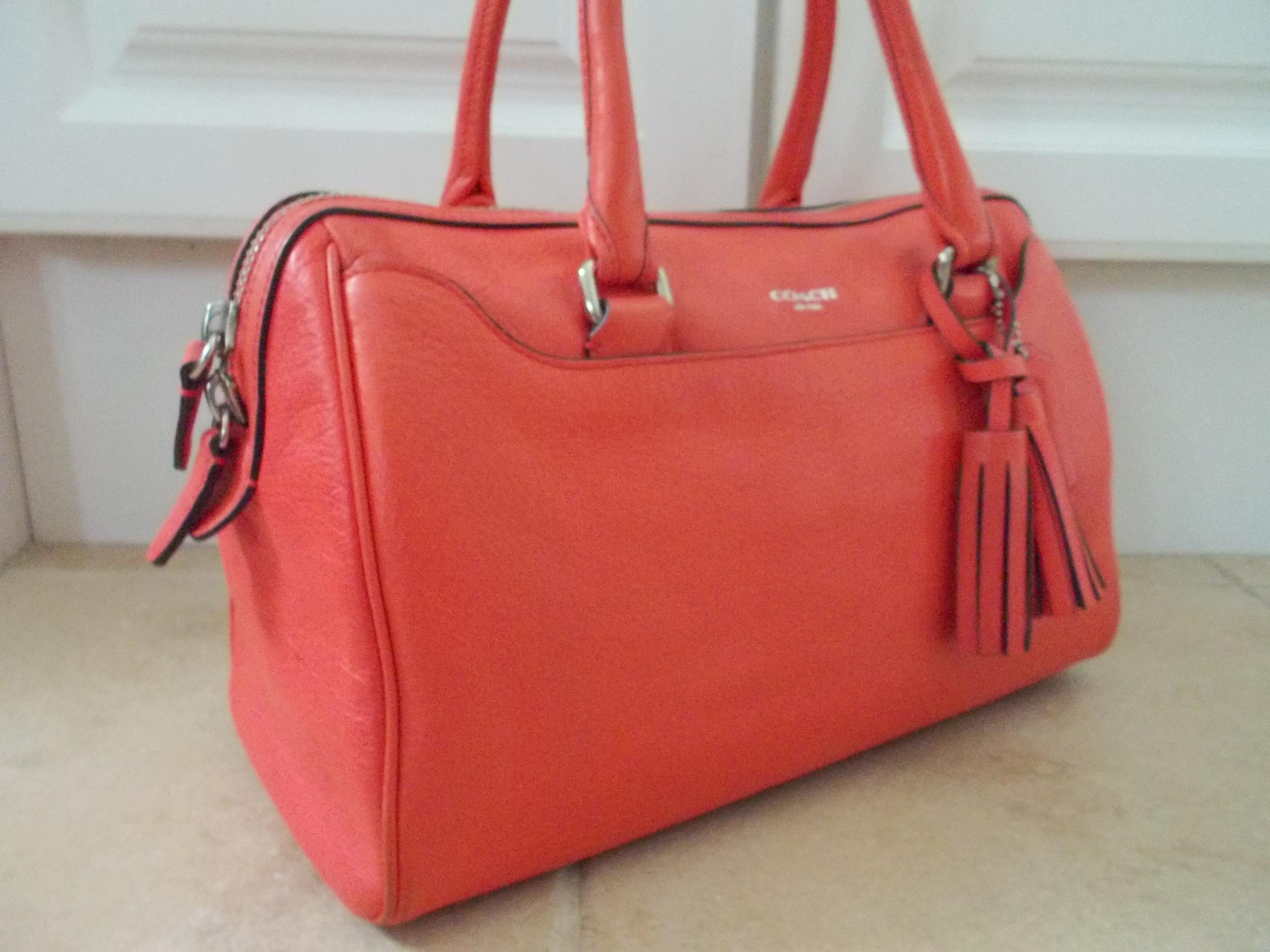553059c8b070 reduced coach legacy haley coral pink leather satchel tradesy 432c4 27d28
