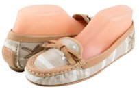 Coach Ireen Starfish Khaki Leather Canvas Sequence Designer Bow Loafers 5.5 Beige Flats