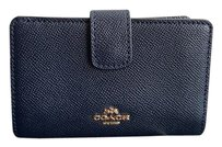 Coach Medium Corner Zip Wallet in Crossgrain Leather in Midnight Blue