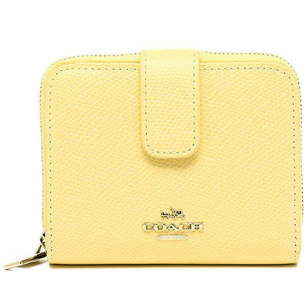 coach wallets sale outlet eu1u  Coach Medium Zip Around Wallet in Lovely Pale Yellow Crossgrain Leather