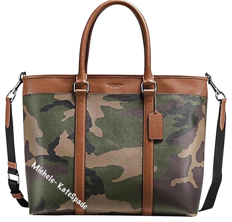 Coach Menu0026#39;s Perry Business Camouflage Tote F55137 Green Camo Coated Canvas Laptop Bag - Tradesy