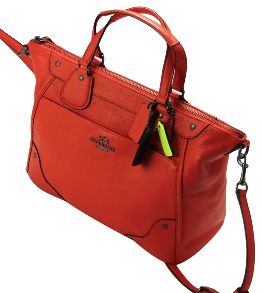 ecf20c51690b ... cheapest coach mickey leather f34040 wmatching wallet f52645 in satchel in  orange 17333 63485