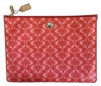 Coach Monogram Luis Vuitton Pouch Wristlet in Coral/Tan