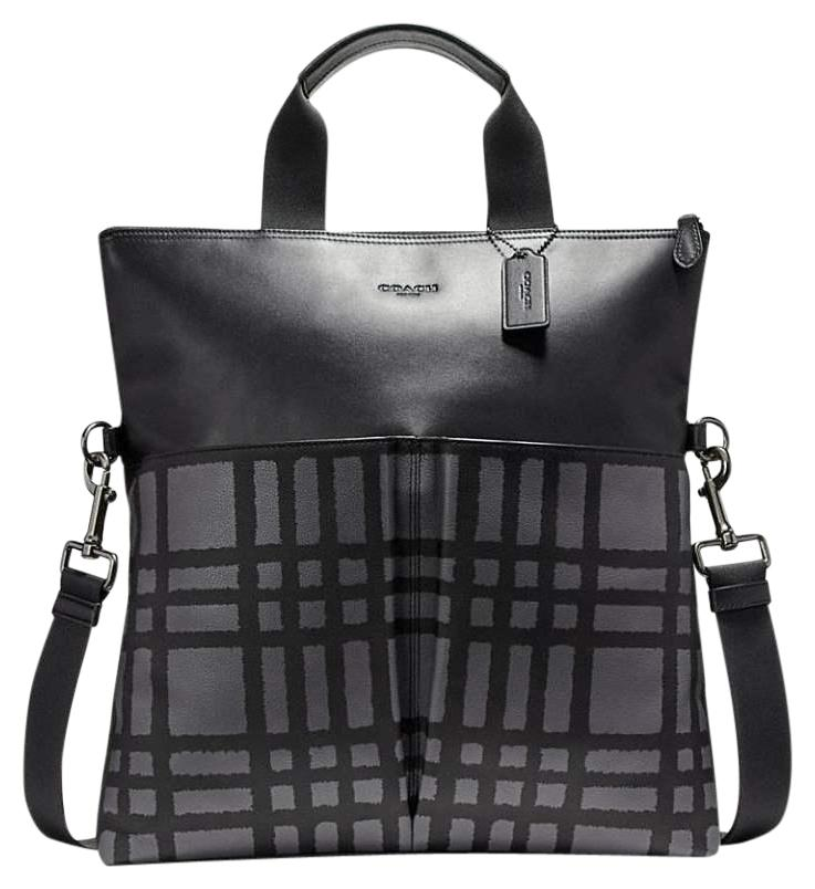 c41697515 ... australia coach foldover men business plaid check pattern black grey messenger  bag f476a d44a3 where can i buy buy coach mens crossbody ...