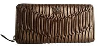 Coach NWT Madison Gathered Leather Accordion Zip Around Wallet 46481 SV/BRONZE $248