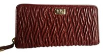 Coach NWT Madison Twist Gathered Leather Accordion Zip Around Wallet 49609 LI/BRICK RED $248