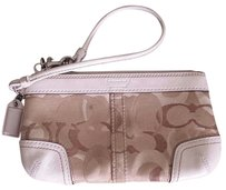 Coach Opt Art Canvas Leather Brown Wristlet in Brown, Off-White