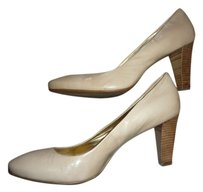 Coach Patent Leather Logo Beige Pumps