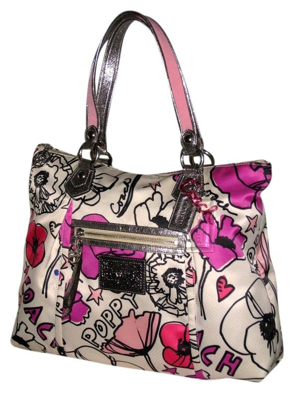 ... official coach tote in pink multicolor 6b054 dc012 top quality  authentic coach poppy petal print ... e57be397d3e81