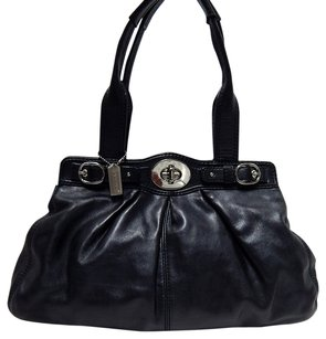 Coach F13914 Leather Satchel in Black