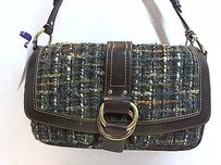 Coach 8f18 Green Tweed Boucle Brown Leather Trim Handbag Max062287 Satchel in Multi-Color