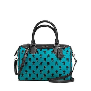 Coach Satchel in Turquoise & Black