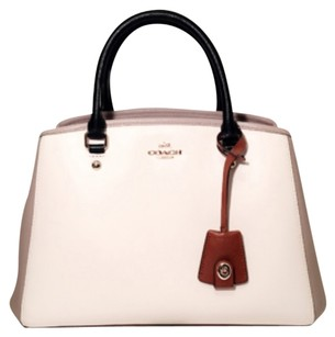 Coach Satchel in White, Tan, Brown