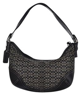 Coach Womens Black Monogram Textile Handbag Shoulder Bag