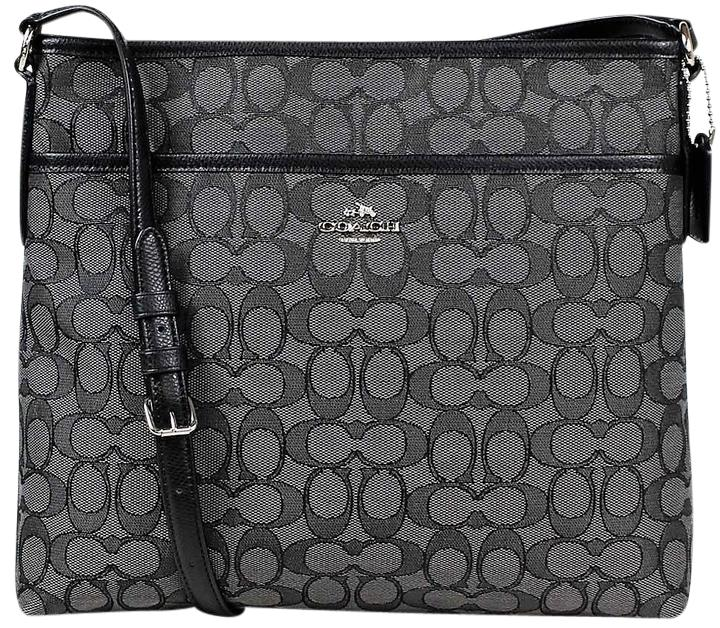 coach bag black and gray pm6x  Coach Signature File Silvertone Hrdw Cross Body Bag