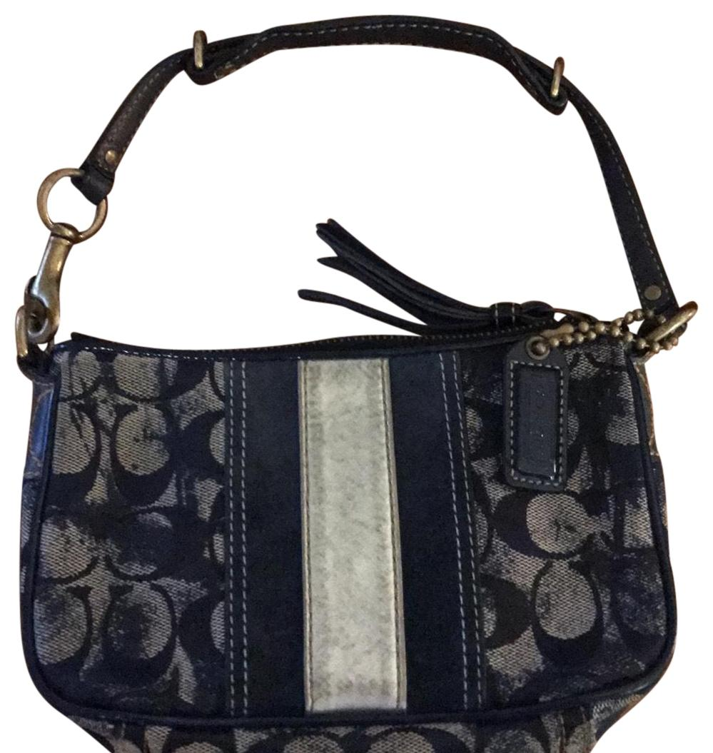 e60a46b9a5 store coach wristlet in distressed blue material with silver accents cccb3  d27ec