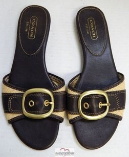 Coach Rubey Leather Brown Sandals