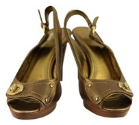 Coach Womens Slingback Gold Sandals