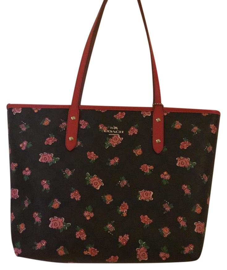 Coach Tote in brown/red multi ...