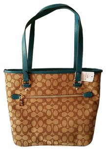 Coach Tote in Khaki & Teal