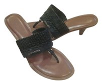 Coach Woven Leather Rubber/leather Sole Wooden Heel Thong Low Heel Black Sandals