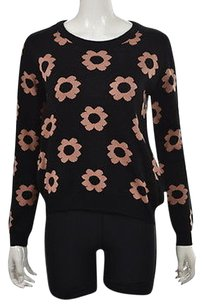 Coincidence & Chance Amp Womens Black Crew Neck Floral Shirt Sweater