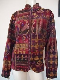 Coldwater Creek Tapestry Zip Multi-Color Jacket