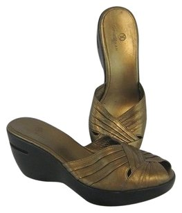 Cole Haan Sandals Leather Gold Platforms