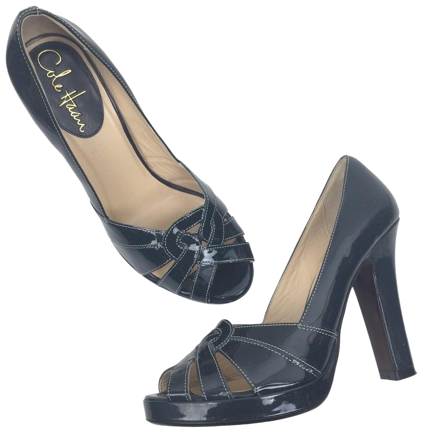 Cole Haan Green Peep Toe Patent Leather Pumps Size US 6.5 Regular (M, B)