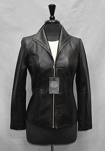 Cole Haan E0 Wmns Leather Wing Collar Zip Up Moto Black Jacket