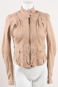 Cole Haan Leather Zip Up Motorcycle Jacket
