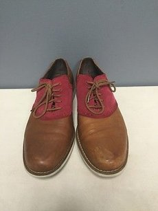 Cole Haan Mens Tan N Red Leather Lace Up Saddle Oxford Dress Shoes B3463