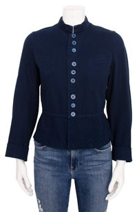 COMME des GARÇONS Navy Button Up Cotton Military Collar Military Jacket