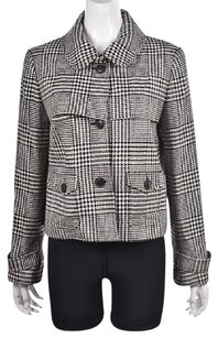 Context Womens Black White Basic Houndstooth Wool Multi-Color Jacket