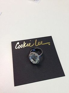 Cookie Lee Cookie Lee Clear Facet Glass Silver Adjustable Ring Any 777-4 Costume Fun