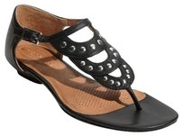 Corso Como Leather Sandal Thong Sandal Studded Scalloped Black Flats