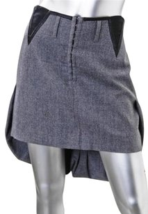 CoSTUME NATIONAL Womens Gray Wool Pleated Mini Wtail 448 Skirt Charcoal
