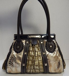 Cromia Italy Croc Snake Embossed Leather Satchel in Brown