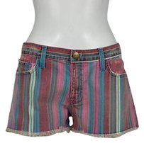 Current/Elliott Womens Striped Denim Casual Frayed Shorts Pink
