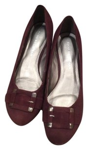 Dana Buchman Flats Heel Suede Leather Burgundy Wedges