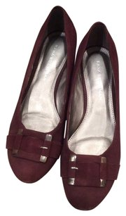 Dana Buchman Wedge Leather Suede Burgundy Flats