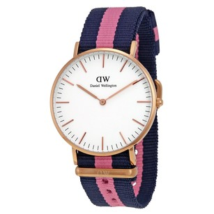 Daniel Wellington Classic Winchester Eggshell White Dial Navy Pink Ladies Watch