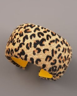 DANNIJO Dannijo Animal-print Pony Fur Leather Cuff