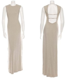 David Meister Open Back Gown Glitter Metallic Cut Out Dress