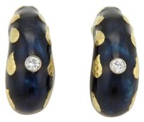David Webb David Webb Diamonds Enamel 18k Yelllow Gold Curved Clip On Earrings