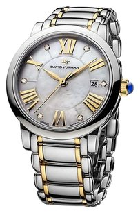 David Yurman 38mm Stainless Steel and 18K Gold Quartz with Diamond Markers