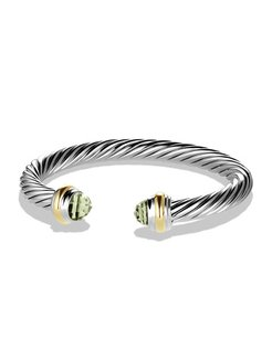 David Yurman 7mm Cable Classics Bracelet with Prasiolite and 14K Gold, Size M