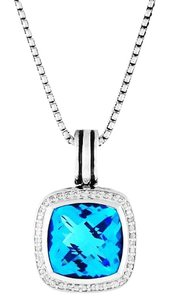 David Yurman Albion Pendant Necklace with Blue Topaz and Diamonds Hinged Cable Bale