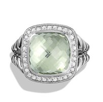 David Yurman Albion Ring with Prasiolite and Diamonds, 11mm